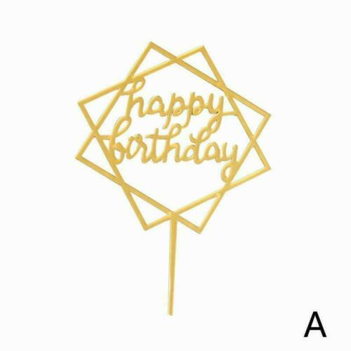 Cake Happy Birthday Cake Topper Card Acrylic Cake Party Supply Decoration Q4H4
