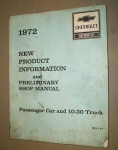 CHEVROLET-SERVICE-NEW-PRODUCT-INFO-amp-PRELIMINARY-SHOP-MANUAL-1972-NPI-1-72