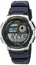 Casio Digital Mens Watch with 10 Year Battery Alarms & World Chronograph Time