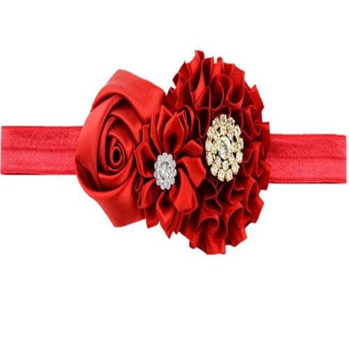 Girls Crystal bandage Turban Elastic Flower Floral Infant Kids Hair Accessories