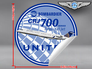 UNITED-EXPRESS-ROUND-BOMBARDIER-CRJ-700-CRJ700-RJ-DECAL-STICKER-3-5-in-9-cm