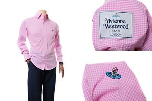 Men-039-s-Vivienne-Westwood-Pink-Long-Sleeve-Button-Down-Shirt-Logo-Size-II