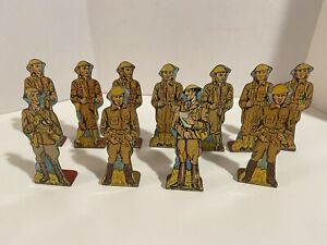 MARX~TOY~TIN LITHO~STAND-UP~SOLDIERS Of FORTUNE~SHOOTING GALLERY~LOT OF 11~