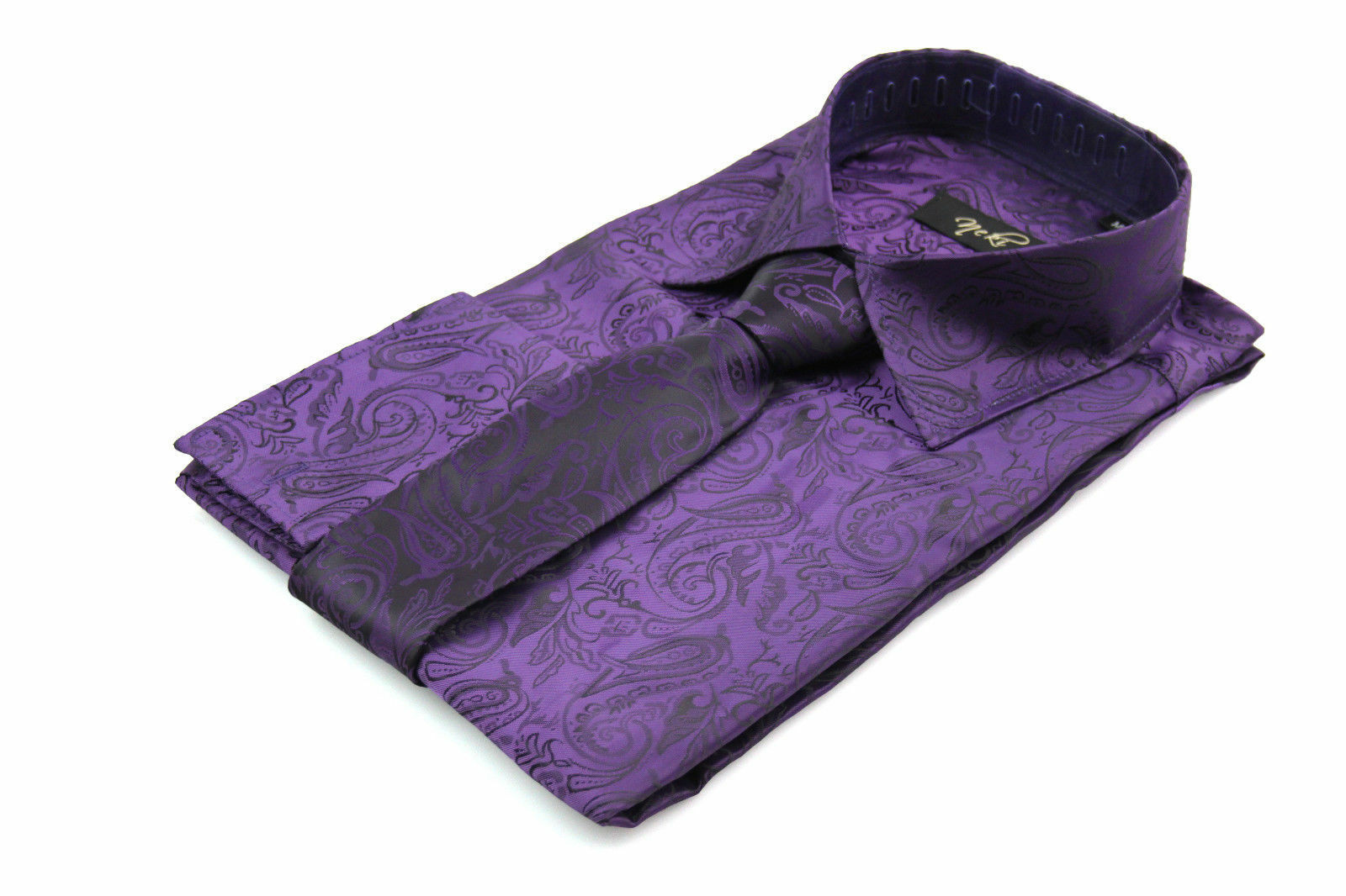 Herren lilat Paisley Seide Satin Look Look Look Oberhemd Alle Größen S M L XL XXL 3XL       Abgabepreis  c60431