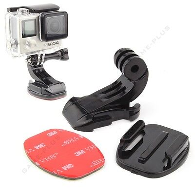 Stickers for GoPro Hero HD 3 3 4 camera 2 sets x Flat /& Curved Adhesive Mount