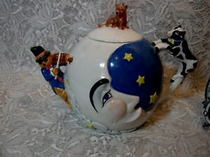 department 56 hey diddle cow jumped over the moon teapot