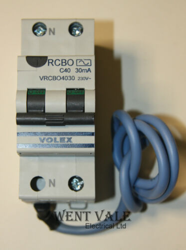 Volex VRCBO4030-40a 30mA Type C Double Pole RCBO Unused