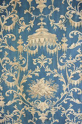 19th French Prussian blue fabric Ciel de lit / cherub material c1870 rococo