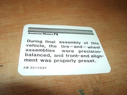 1969 AMC JAVELIN AMX RAMBLER WHEEL ALIGNMENT DECAL