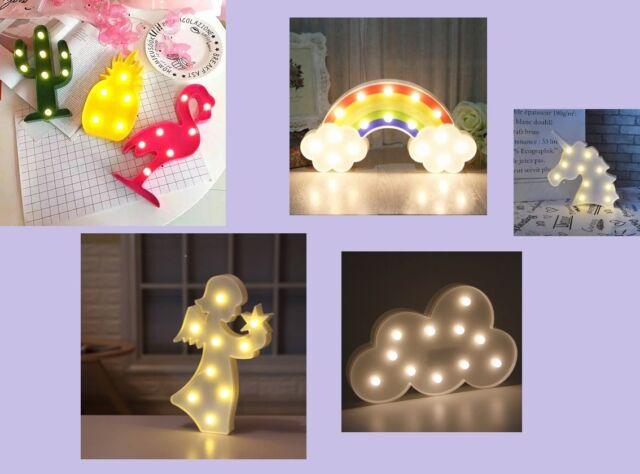 3D LED Night Lamp KIDS DIY Animal Plant Light Bedroom Table Wall Christmas Decor
