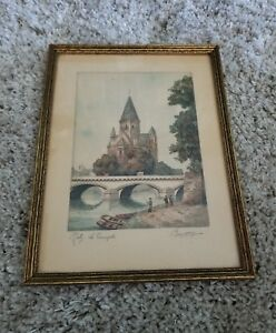 Original-Vintage-French-Framed-Print-Barday-Paris-Metz-Le-Temple-Neuf-Signed