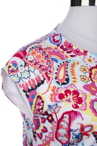 Cotton Button Dress Plus 3x Paisley Blue Pink Button Print Talbots Interlock xqaRIw0AaT