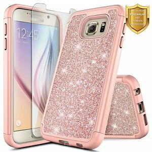 For-Samsung-Galaxy-S6-Glitter-Bling-Slim-Hybrid-Case-Cover-Screen-Protector