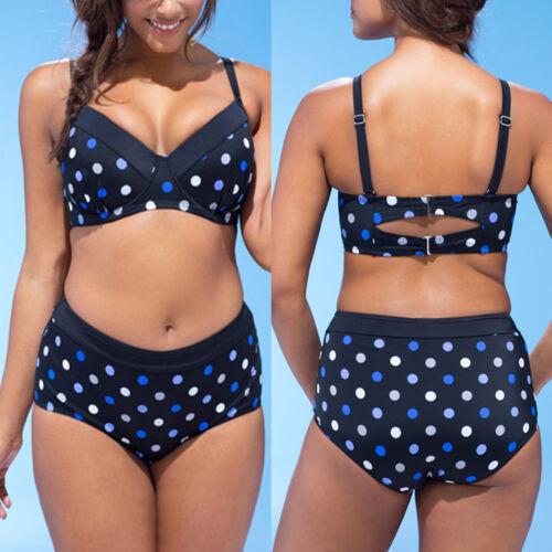 Plus Size Women Padded Bikini Set High Waist Swimsuit Swimwear Bathing Suit UK