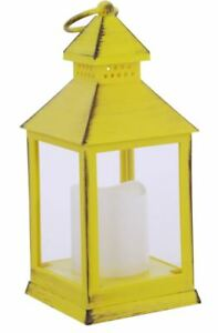 Brush-Yellow-Battery-Operated-Candle-Lantern-9-5-034-8-Hour-Timer-By-Renaissance