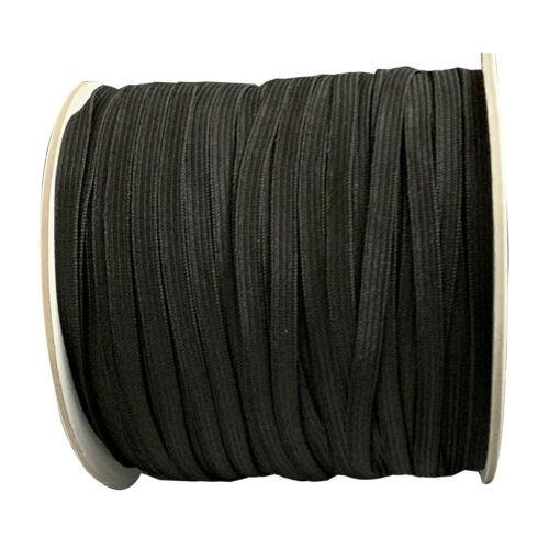 Black White Flat Elastic Cord 7mm Wide for Sewing Crafts Dressmaking Tailoring