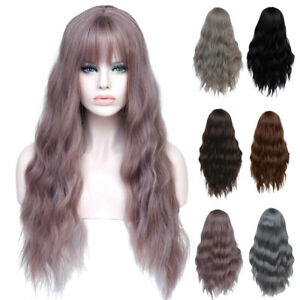PW-Cosplay-Long-Women-039-s-Wig-with-Bangs-Curly-High-Temperature-Fiber-Hair-Late