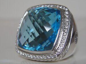$2950 David Yurman Extra Large Albion Topaze Bleue Diamant Ice Ring-afficher Le Titre D'origine