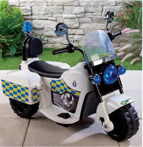 Polis Ride on barn Electric Bike - 6V - Framåt and Omvänd - ålder 3 Plus