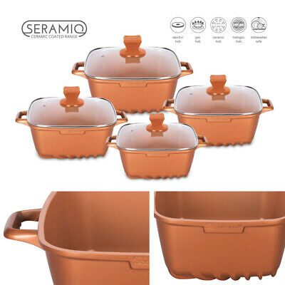4pc Square Stockpot Set Ceramic Coated Non-stick Cookware Pan Casserole Copper Om Digest Greasy Food Te Helpen