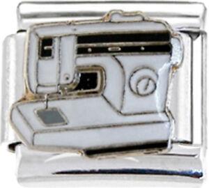 SEW-SEWING-MACHINE-Enamel-Italian-Charm-9mm-1-x-NC229-Single-Bracelet-Link