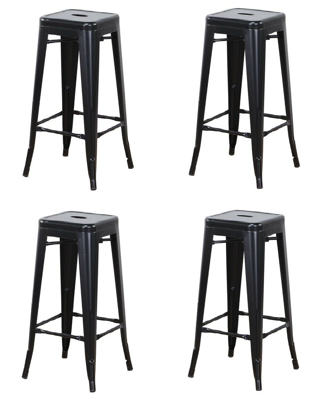 Set of 2 Rustic Vintage Retro Metal Leather Industrial Style Seating Pub Chair High Back Seating for Breakfast Bar Stool Kitchen Island Counter Height Wisfor Bar Stools