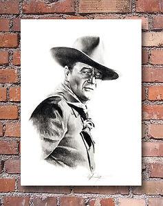 """John Wayne Pencil Drawing 2 /""""The Duke/"""" 11 x 14 Art Print Signed by Artist DJR"""