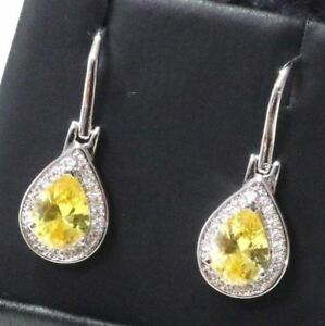 2-5-Ct-Yellow-Pear-Citrine-Earring-Drop-Women-Wedding-Jewelry-14K-Gold-Plated