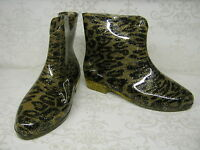 Ladies X1196 Funky Glittery Leopard Print Ankle Pvc Wellies