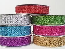 """7/8"""" Wire-Edged Polyester Glitter Mesh Ribbon 10 Yards"""