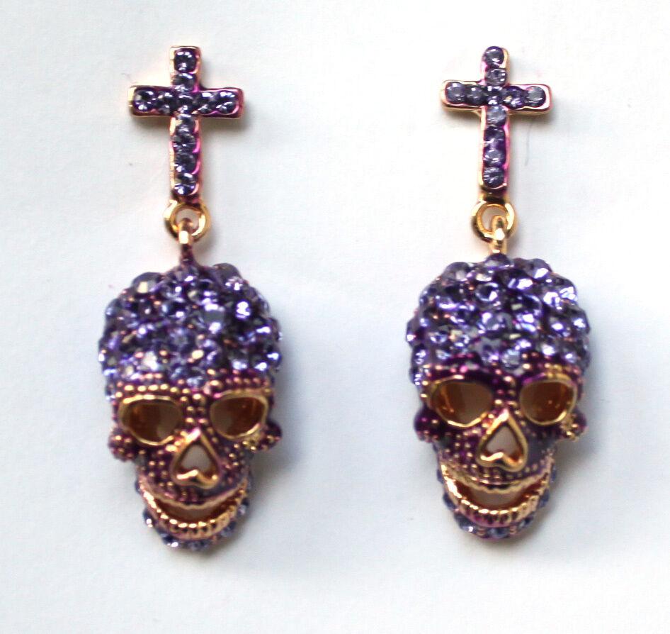 Butler & Wilson purple Kristallschädel Kreuzohrringe NEU