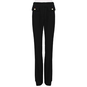 Alexander-McQueen-Flared-Leg-Black-Wool-Crepe-Trousers-Pants-IT44-UK12