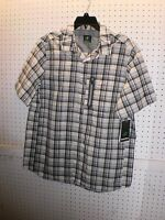 Nordic Track Men's Large Bamboo Plaid Short Sleeve Woven Shirt Free Shpg Nwta