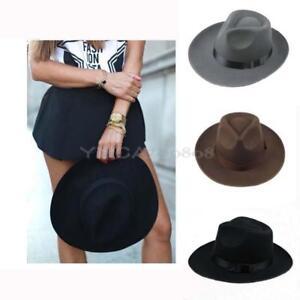 39579ccc3a5 Vintage Felt Formal Hat Outdoor Cap Wide Brim Beach Summer Sunscreen ...
