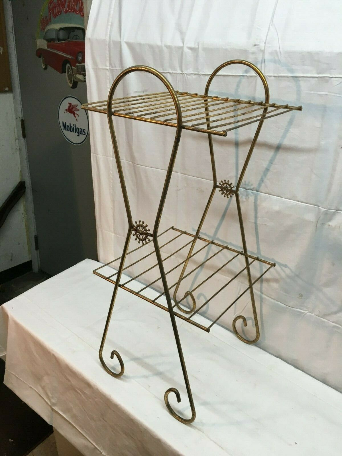 Picture of: Vintage Mid Century Modern Metal Wire Record Stand 2 Tier Atomic Retro For Sale Online