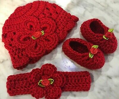 Handmade Crochet Baby Hat Booties Newborn 0-3 month ...