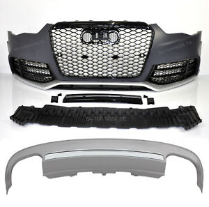 Fuer-Audi-A5-8T-12-16-RS5-Look-Frontstossstange-Wabengrill-S5-Look-Diffusor