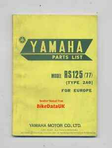 Yamaha-RS125-1977-gt-gt-Genuine-Parts-List-Book-Catalog-Manual-RS-125-DX-2A0-CE50