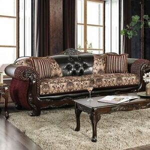 Details about Traditional Antique 2pc Sofa Set Burgundy Leatherette  Intricate Wood Trim Couch