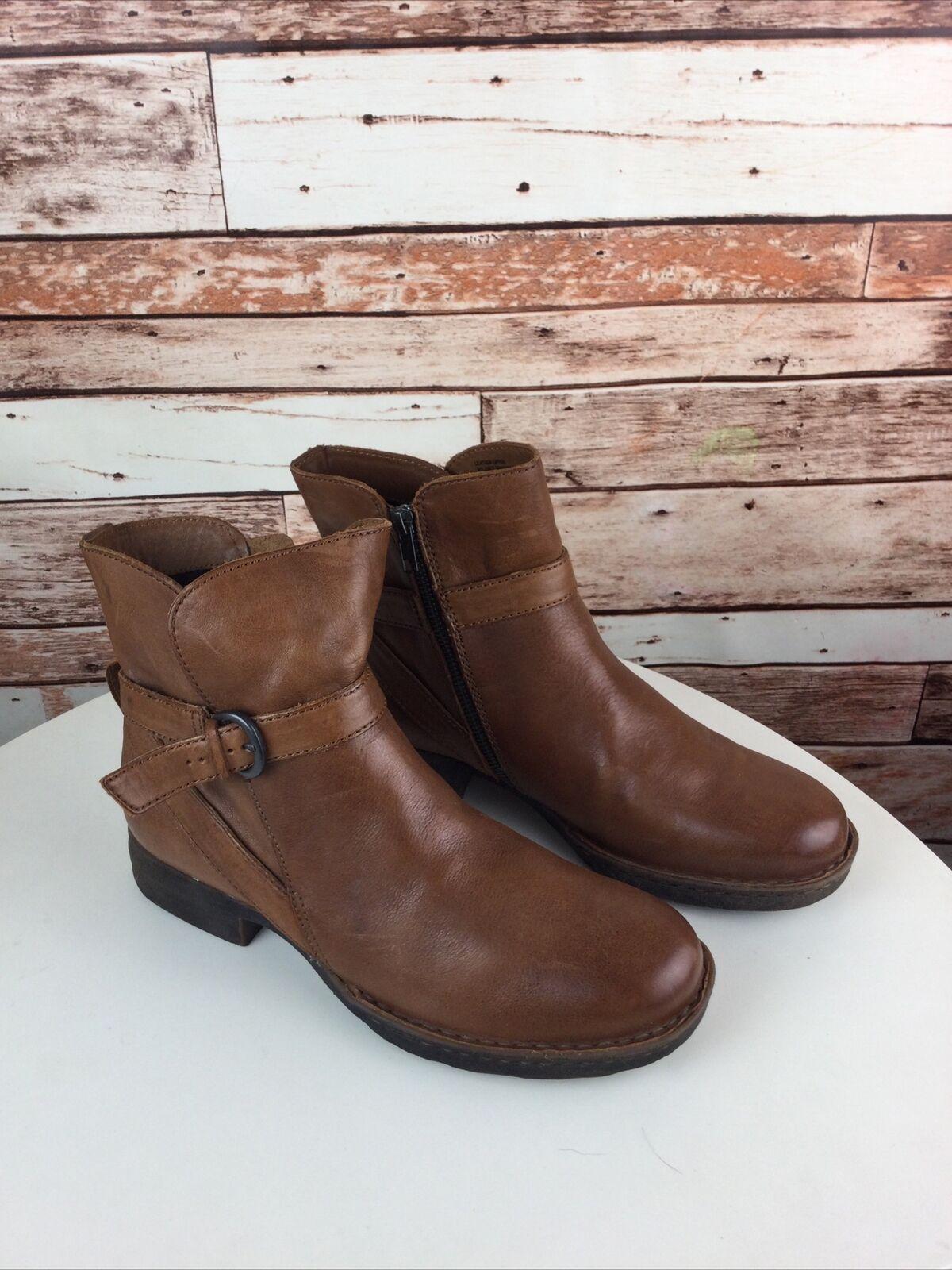 BORN Cognac Brown Leather Zip Ankle Moto Boots Size 10 M/W EUC