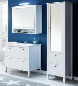 Details zu Badezimmer Möbel Badmöbel Set komplett Waschbecken Hochschrank  weiß Landhaus Ole