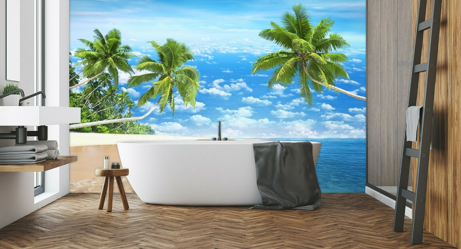 3D Coconut Tree Beach R971 Wallpaper Wall Mural Self-adhesive Commerce Amy