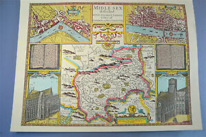 London Town Map.Details About Vintage Decorative Sheet Map Of Middlesex London Town Plan John Speede 1610