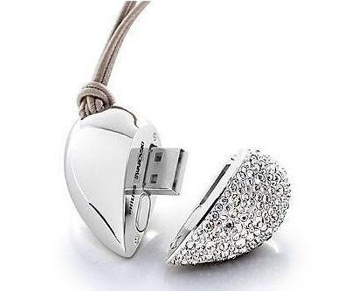 White 8GB pretty metal Diamond heart USB 2.0 Memory Flash Stick Pen Drive Disk
