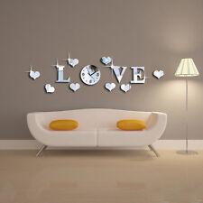 Silver Mirror Effect Clock Wall Sticker LOVE Clock Movement Decoration