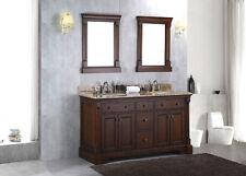 "New Solid Wood 60"" Double Bathroom Vanity Sink Cabinet w/ Granite Stone Top"