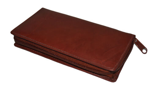 CHECKBOOK CREDIT CARD HOLDER ZIPPER BROWN NEW GENUINE LEATHER GREAT GIFT IDEA