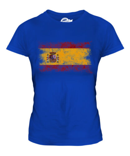 SPAIN DISTRESSED FLAG LADIES T-SHIRT TOP ESPANA ESPAINIA ESPANYA SPANISH ESPANHA