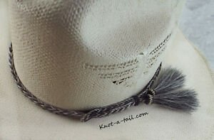 Details about Horsehair Hat band, Side tassels, Gray/black, horsehair hat  band, narrow, Rodeo