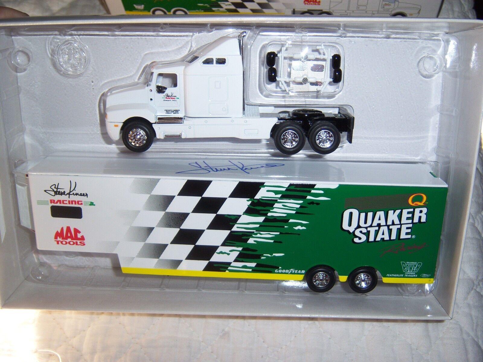Steve Kinser 1 64 Sprint Car Transporter Quaker State Autographed GMP